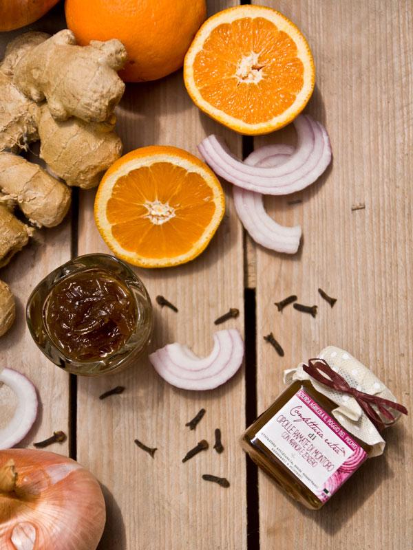 confettura artigianale extra di cipolle ramate di Montoro con arancia e zenzero - Il Poggio del Picchio