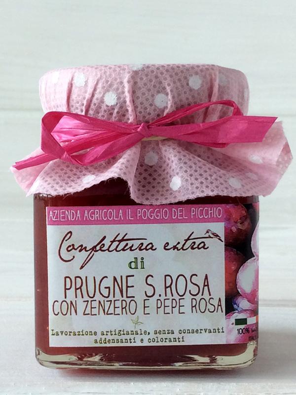 confettura artigianale extra di prugne Santa Rosa con zenzero e pepe rosa - Il Poggio del Picchio