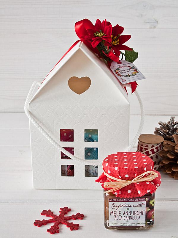 Poggio del Picchio - confezione regalo originale per Natale casetta bianca 4 vasetti marmellata artigianale