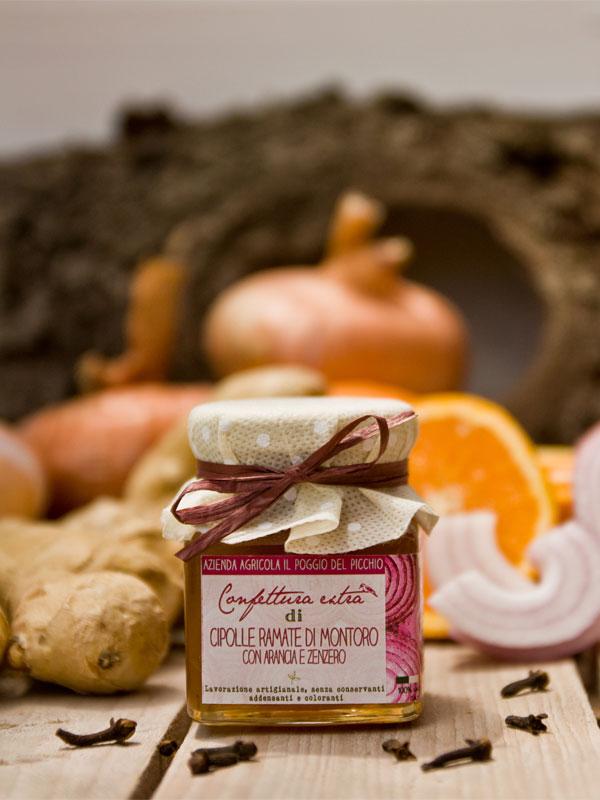 confettura artigianale extra di cipolle ramate di Montoro con arance e zenzero Il Poggio del Picchio