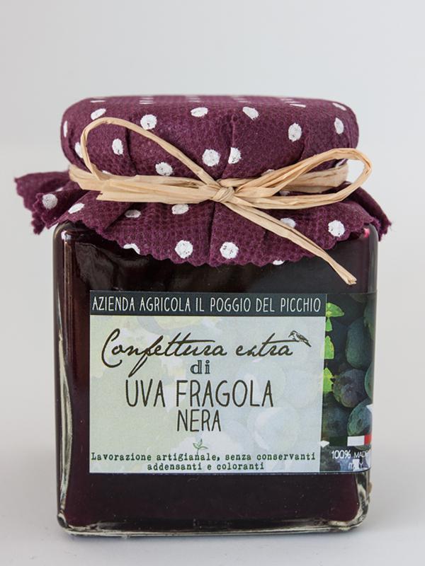 confettura extra artigianale di uva fragola nera il poggio del picchio