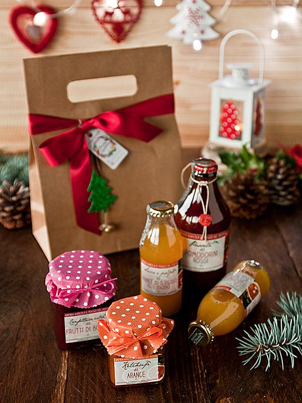 Il Poggio del Picchio - confezione regalo Natale kit degustazione marmellata artigianale busta elegante degustazione fiocco raso rosso