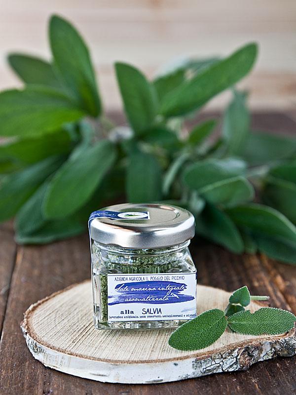 sale marino integrale artigianale aromatizzato alla salvia- il poggio del picchio