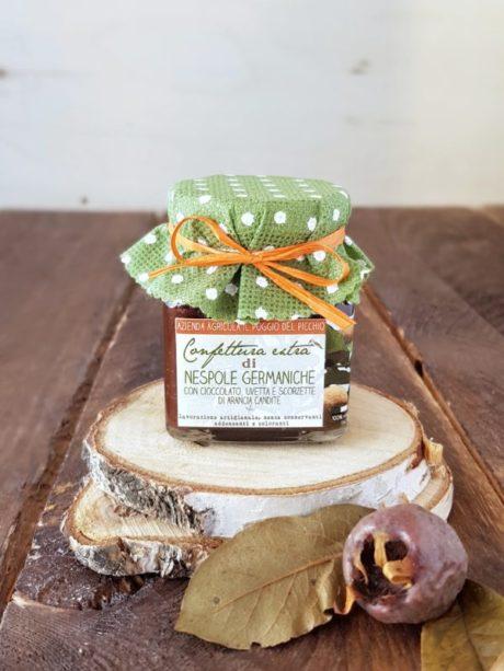 confettura artigianale extra di nespole germaniche al cioccolato con uvetta e scorzette di arancia candite | Il Poggio del Picchio